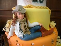 Modern Fondant Figure of Cowgirl.
