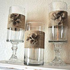 Burlap Flower Hurricane Vase by JenGraceMartin on Etsy Burlap Projects, Burlap Crafts, Diy Projects, Upcycled Crafts, Diy Crafts, Recycled Art, Burlap Lace, Burlap Flowers, Burlap Ribbon