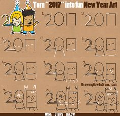 "How to Draw New Years Eve / New Year Word Cartoon Art of Kids Celebrating from the Year ""2017"" Easy Word Toon Tutorial for Kids"