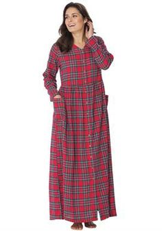 7735875a41 Flannel snap-front lounger Plus Size Nighties