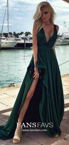 Long Prom Dresses Green, V Neck Prom Dresses Sexy, A Line Prom Dresses Modest, Unique Prom Dresses With Slit #FansFavs #greendress #alinedress #slitdress