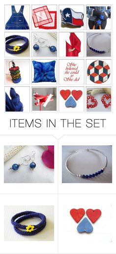 """Etsy Collage - Red & Blue"" by rosa-shawls ❤ liked on Polyvore featuring art and vintage"