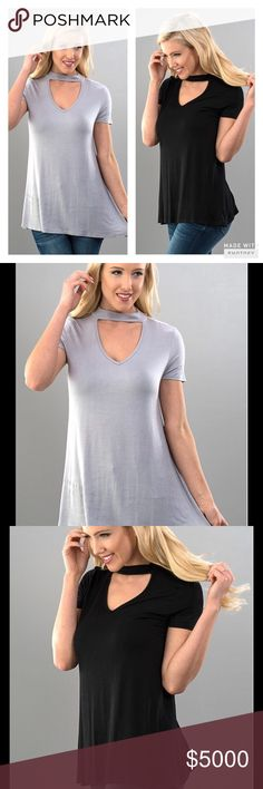 GRAY CHOKER TRIANGLE CUT OUT NECKLINE TOP Gray Choker Neck Triangle Cut Out Top  Short Sleeves  Trendy for Spring  Neutral Color that Matches many Color Bottoms & Accessories Choker & Cut Out Neckline-AVAILABLE IN GRAY ONLY   Sizes S, M, L Rayon/Spandex Bundle Discount Available   PRICE IS FINAL UNLESS BUNDLED NO TRADES Peach Couture Tops Blouses