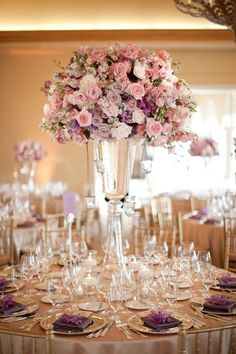 Purple Wedding Flowers love this wedding reception table! gold table linens and chairs, and tall centerpiece with lavender, blush, and white flowers - Lavender and Ivory Classic Wedding ideas with an incredibly beautiful lace dress. Lilac Wedding, Purple Wedding Flowers, Wedding Flower Decorations, Wedding Table Centerpieces, Wedding Flower Arrangements, Flower Centerpieces, Wedding Themes, Elegant Wedding, Floral Wedding