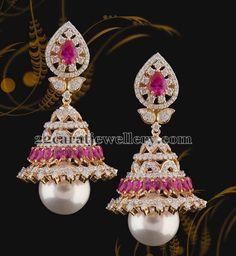 Diamond Jhumkas with Invisible Rubies   Jewellery Designs