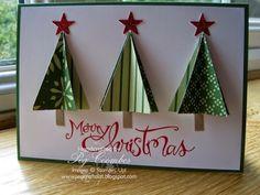 Stampin Up UK Demonstrator UK Pegcraftalot Festival of Trees Punch Card - Stampin' Up! Homemade Christmas Cards, Christmas Makes, Christmas Cards To Make, Homemade Cards, Handmade Christmas, Holiday Cards, 3d Christmas Tree Card, Xmas Tree, Ideias Diy