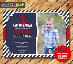 Printable Anchor Birthday Photo Invitation - Nautical - Free Thank You Card and Pennant Banner - Find us on Facebook! https://www.facebook.com/pages/Sweet-Gumdrop-Creations/157015321151666