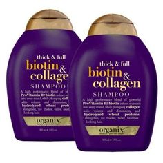 Organix Thick & Full Biotin & Collagen Shampoo and Conditioner. This stuff makes your hair so much fuller, and it's not tested on animals :) Sulfate Free Shampoo, Biotin And Collagen Shampoo, Biotin Hair, Thickening Shampoo, Natural Hair Care, Natural Hair Styles, Growing Your Hair Out, Growing Long Hair, Maquillaje