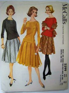 Vintage 1960 McCall's 5599 Misses' Two-Piece by RaggsPatternStash