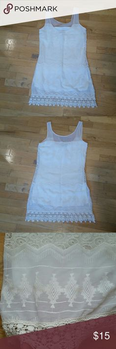 MWT  Cream , sheer tank dress.  Lined NEW Beautiful, cream dress , fully lined, tank top style dress with crochet / lace border. Runs like juniors small. Dresses