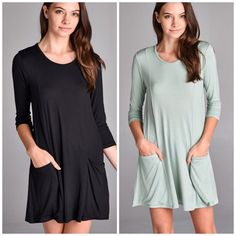 2 pocket 3/4 Sleeve Tunic Simple round neck tunic dress in black . Two pocket details rayon and spandex nwot available in sage green and black . This listing is for the black . Sage green in another listing . Pastel Vivacouture Dresses