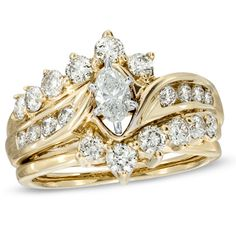 I've tagged a product on Zales: 1-1/2 CT. T.W. Marquise Diamond Bridal Set in 14K Gold