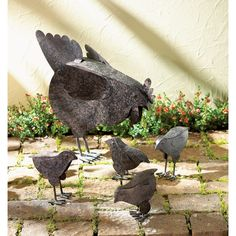 5 Pc Set! Rustic Country Hen With Chicks Sculpture Garden Patio Art Decor  #Unbranded