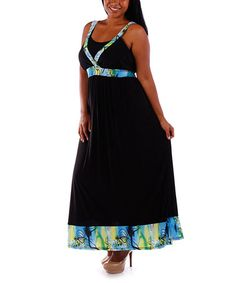 Another great find on #zulily! Black & Blue Abstract Sleeveless Maxi Dress - Plus by Yummy #zulilyfinds