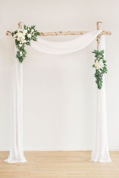 2pcs Flower Arch Décor with Sheer Drape (Pack of 3) - Timeless White White Wedding Arch, Simple Wedding Arch, Simple Wedding Decorations, Simple Weddings, Flower Decorations, Wedding Ideas, Indoor Wedding Arches, Wedding Alter Flowers, Wedding Favors