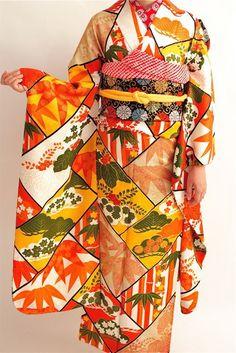 ダリヘアデザイン成人式レンタルお着物。アンティーク竹のお着物。|ダリヘアデザイン 高島の靭公園から徒然と