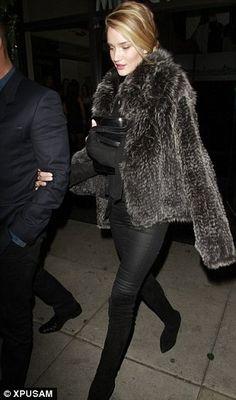 Rosie Huntington-Whiteley and Kymerah Carmen Starling Fur Jacket