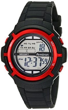 Armitron Sport Unisex 45/7045BLK Red Accented Digital Black Resin Strap Watch