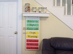 """Behavior Chart -- Kids move their clips up or down based on behavior.  Rewards and consequences doled out at certain places on the chart.- This is great, kids can physically see how their behavior is being reflected. I also love the idea of using a """"token"""" reward system with small prizes that will cost tokens."""