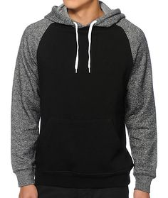 Update your hoodie game with ash raglan sleeves that provide two tone contrast against the black body.