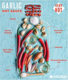 how to make hot sauce-garlic-HelloFresh-recipe-infographic Step Learn how to make hot sauce. Step Pick your favorite. Step Feel unstoppable in the kitchen. Hot Pepper Recipes, Hot Sauce Recipes, Mexican Hot Sauce Recipe, Hello Fresh Recipes, Salsa Picante, Homemade Sauce, Homemade Seasonings, Stuffed Hot Peppers, The Fresh