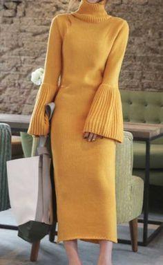 Yellow dress Women casual dress long sleeve dress elegant dress trendy knit dress from merino wool Knit Fashion, Look Fashion, Trendy Fashion, Autumn Fashion, Fashion Trends, Dress Fashion, Korean Fashion, Womens Fashion, Fashion Outfits