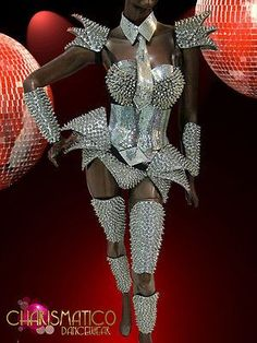 Futuristic Mirrored Corset, Arm, Leg, and Shoulder Armor Set with Mask Drag Queen Costumes, Drag Queen Outfits, Drag Queens, Stage Outfits, Dance Outfits, Trajes Drag Queen, Space Costumes, Shoulder Armor, Halloween Disfraces