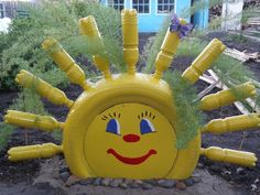 After being used for their intended purpose, tires have long been used to create fences for flower beds or children's entertainments. From the old tires you get