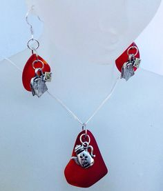 Sea Glass Tea pot necklace, tea bag earrings,sterling silver,mothersday,valentines day, gifts,cultured sea glass jewelry,jewelry set,jewelry