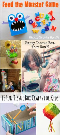 15 Fun Tissue Box Crafts for Kids #sneezingtime