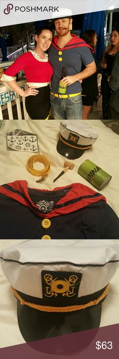 Men's Complete Popeye Halloween Costume Costume includes sailor cap (backwards in first picture when being worn), corn cob pipe, yellow belt, spinach can/ beer holder, fake tattoos and LRG brand shirt. Size small but it fits more like a medium. The red cape like  thing that goes around the neck is pinned in, not sewn so it can be easily put on a larger shirt if needed. Lrg Other