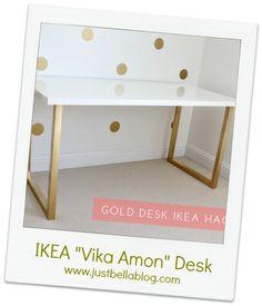 Så snyggt!  Vill ha bordsskivan (Vikamon från IKEA?) Men kanske ett par andra bordsben, men som ska målas i koppar!