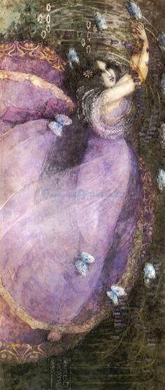 Frances Macdonald MacNair (1873-1921) - Ophelia. Oil on Canvas. Circa 1895.