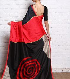 Red, Black & Beige Katan & Twill Silk Saree  #ParamparikSarees #Shades #Rajouri Garden #6YardsSarees
