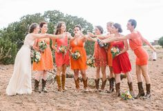 Bohemian New Mexico wedding | photo by Jennifer Emerling of YEAH! weddings | 100 Layer Cake I love these dresses with the boots