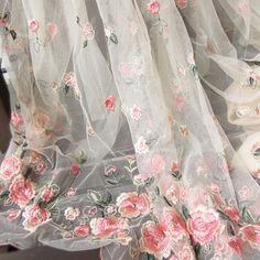 Gorgeours Lace Fabric Pink Flower Embroidered Tulle Fabric Dress Bridal Veil Floral Lace Fabric 59 Inches Wide 1 Yard