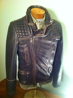 Mens Allsaints Spitalfield Leather Motorcycle Jacket Cargo Vintage Biker Medium
