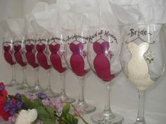 Items similar to Personalized Hand Painted Bridal Party Wine Glasses - Set of 8 - Gift Wrapping Available on Etsy Gifts For Wedding Party, Wedding Wishes, On Your Wedding Day, Dream Wedding, Wedding Ideas, Wedding Bells, Wedding Stuff, Wedding Fun, Party Gifts