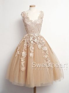 Retro Tulle Lace Short Prom Dresses, Formal Dresses #prom #dress #promdress