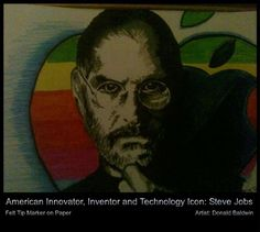 A rendition I did of Steve Jobs -  felt-tip pen on paper by Don J Baldwin