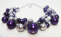 Purple and Gray Necklace. Cluster of  pearls with by Eienblue, $28.00