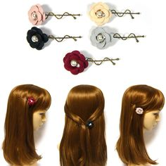 Pairs Small Camellia Flower Crystal Pearl Antique Metal Hair Clip Barrette Pin #Jacc #Barrettes #Party