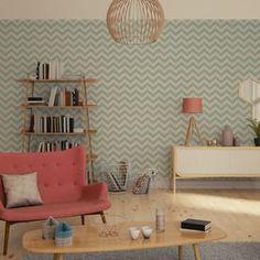 Laissez-vous tenter par l'intissé INGEBORG ! Votre mur se pare d'un superbe motif chevron. Ses lignes zigzaguent en créant une ambiance dynamique et tendance. Le vert d'eau rafraichit votre déco, tandis que le blanc laisse apparaitre les rainures du bois, pour une déco plus cocooning.
