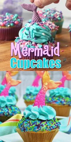 "These mermaid cupcakes are SO pretty and perfect for summer! Click ""make it"" to see how we made our cute mermaid tail cupcake toppers! recipes ideas recipes ideas families recipes id Cupcake Recipes For Kids, Easter Recipes, Cup Cakes For Kids, Cupcakes For Girls, Beach Themed Cupcakes, Cute Cupcake Ideas, Ocean Cupcakes, Kids Birthday Cupcakes, Frozen Cupcakes"