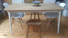 Hand made kitchen oak stools Mouseman furniture.
