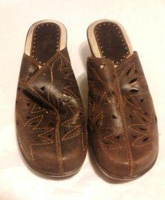 "Bass ""Brenda"" Mules Women's Shoes,7M , Brown,"