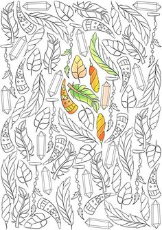 adult coloring page boho coloring page feathers coloring page ethnic coloring nature