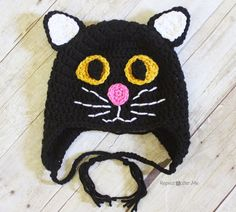 Black Cat Hat ~ need to make this one for myself! With green eyes. :)
