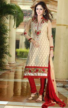 USD 91.97 Brown Floral Patch Churidar Salwar Suit 32573