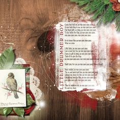 "my entry for the December 2012 Challenge 4 on lyrics 'scrap about your favourite Xmas song'  I used these supplies:  The Hidden Heart ""Sing Your Song"", Jen Maddocks ""Owl Magic"" and ""O Christmas Trees"", Anna Aspnes ""Script Tease Christmas"", Art Plays ""Shabby Christmas"" and ""Crazy Life"", Artsy Paint"